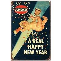 本当の新年あけましておめでとうございますブリキサインヴィンテージ面白い生き物鉄の絵の金属板人格ノベルティ