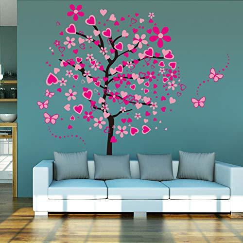 XCWQ Muursticker voor muurfoto's, motief: vlinders, roze bloemen, voor woonkamer, slaapkamer, decoratie voor huis 60 x 90 cm