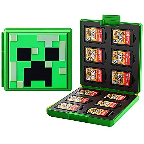 Etui kompatibel Für Nintendo Switch,Tragbar & Dünn, Schutzhülle Aufbewahrungsbox Spiele Cards Tasche,mit 12 Spiele Schlüssel + 12 TF Schlüssel (Minecraft/Green)