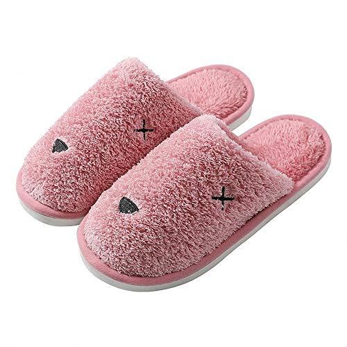 THUMBGEEK Zapatillas de algodón orgánico para mujer, antideslizantes, lavables, transpirables y cómodas, para el invierno en casa, spa, viajes, suela de goma, color Rojo, talla 37.5/40 EU