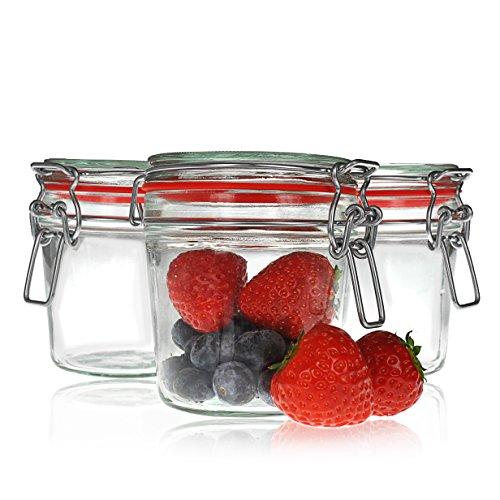 3x Verres de repassage fil 200 ml, pots de verre avec joint en caoutchouc