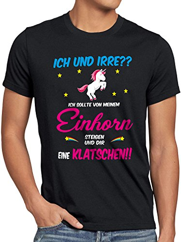 style3 ICH und IRRE? Einhorn absteigen klatschen Herren T-Shirt Einhörner Fun Spruch JGA Junggesellen-Abschied, Größe:L, Farbe:Schwarz