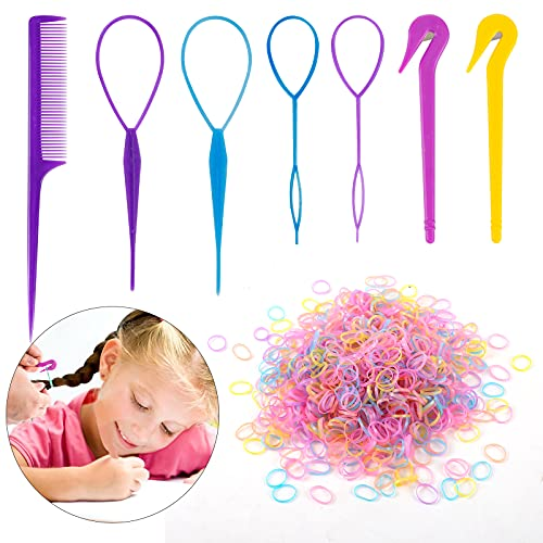 79STYLE 1000pcs Small Elastic Hair Bands 2pcs Mini Rubber Bands Remover Pony Pick cutter 4pcs Topsy Hair Tail Tools Girls French Braiding Tool Loop Ponytail Maker Hair Styling Accessories (Candy Muti-Colors)