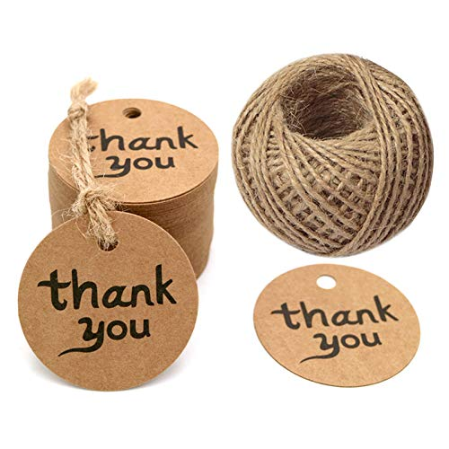 100PCS Thank You Tags Round Brown Kraft Paper Tag with String Perfect for Baby Shower,Wedding and Party Gift Decorations