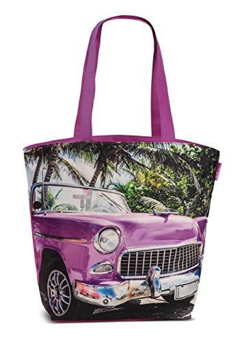 Badetasche Strandtasche Kuba Retro Umhängetasche Freizeit Strand Tasche Einkaufstasche Oldtimer Lila