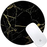 Marphe Mouse Pad Black Gold Marble Pattern Mousepad Stitch Edge Non-Slip Rubber Gaming Mouse Pad Round Mouse Pads for Computers Laptop