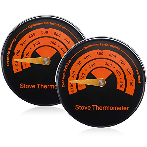Magnetisch Ofen Thermometer Holz Brenner Thermometer Ofen Temperatur Meter Ofenrohr Thermometer Kamin Zubehör zur Vermeidung Ofen Lüfter Durch Überhitzung Beschädigt (2 Packungen)