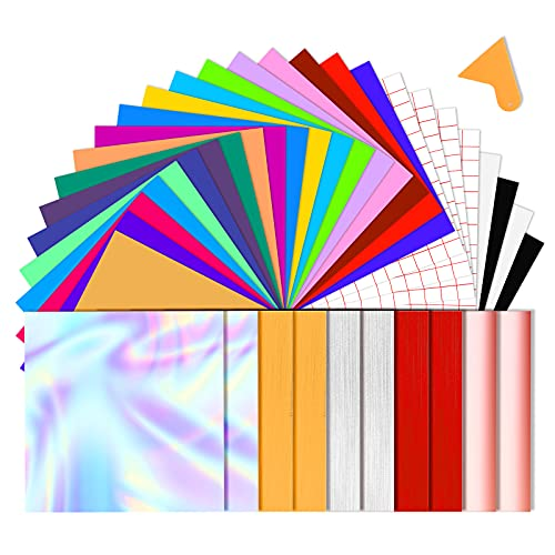 BOENFU 37 Satz Vinylfolien Klebefolie, 33 Selbstklebende Vinylfolie + 4 Transferfolie, 30.5 * 30.5 cm Vinyl Blätter für Keramik, Glas, Kerzen, Metall, Kunststoff, Modellbau