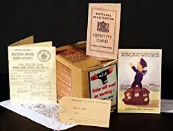 Gas Mask Box-Ration Book-ID Card-Postcard & Luggage label
