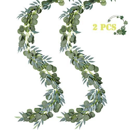 IMIKEYA 2 Pcs Eukalyptus Girlande Künstlich Pflanz Greenery Künstliche Eukalyptus und Weidenranken Girlande für Hochzeit Party Home Dekoration Zubehör Wand Dekoration