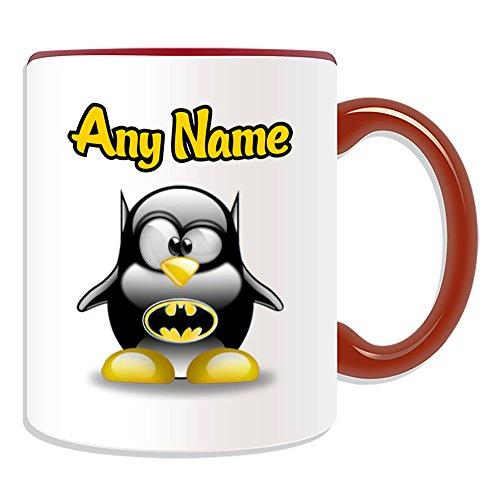 Taza de regalo personalizable, diseo de personajes de pelcula de pingino, opciones de color, cualquier nombre/mensaje en tu nico, disfraz de superhroe de Marvel Comics Avengers Batman