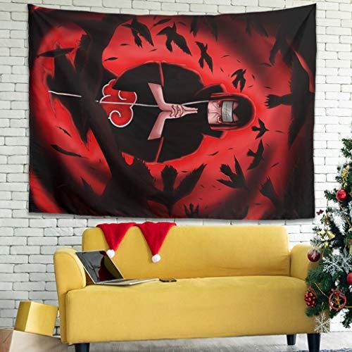 Hothotvery Tapiz Anime Itachi Ninjutsu con cuervo impreso, respetuoso con la piel, para dormitorio, color blanco, 150 x 130 cm