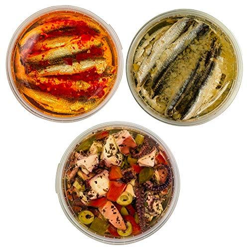 Food-United Meeres-Set – TINTENFISCH-SARDELLE - 3x 280g - Zitronen-Sardellen & Oktopus-Salat & Chili-Sardellen – für Anchovis-Pizza-Pasta-Nudeln-Antipasti-Salat saftig-zart
