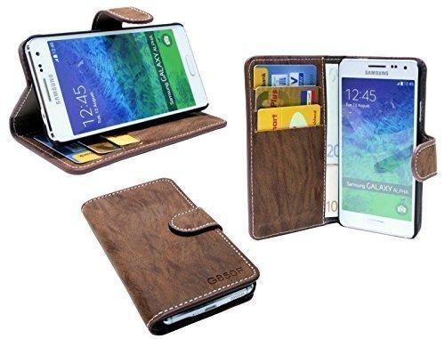 ENERGMiX Buchtasche Hülle kompatibel mit Samsung Galaxy Alpha G850F Case Tasche Wallet BookStyle mit STANDFUNKTION in Coffee-Braun