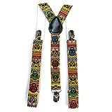 Multicolour Sugar Skull/Day Of The Dead Trouser Braces