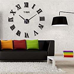 Frameless 3D DIY Silent Wall Clock Mirror Surface Decorative Clock Large Wall Stick Clock for Living Room Bedroom Office Home Decorations (Black)