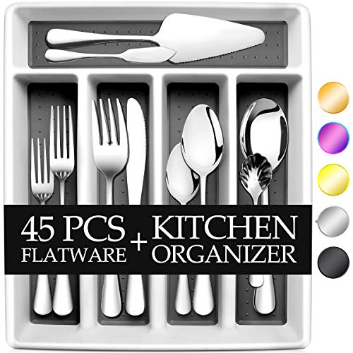 RayPard 45-Piece Silverware Set Flatware Set Mirror Polished Dishwasher Safe Service for 8 Include ForkSpoon with 5-Compartment Non Slip Silverware Drawer Organizer Box Tray