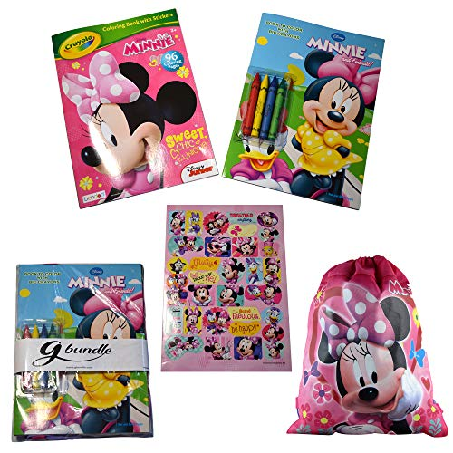 g bundle Minnie Mouse Coloring Books Activity Set Bundled with 4 Jumbo Crayons, Stickers, Sling Bag, in a Package (Minnie Mouse 2 Book)