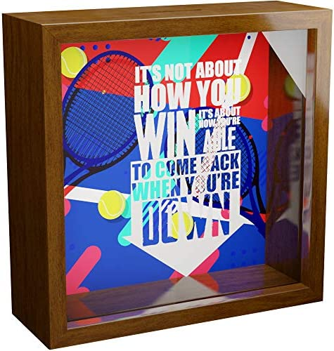 Tennis Wall Decor Gifts 6x6x2 Memorabilia Shadow Box with Glass Front Wooden Memory Box Ideal product image