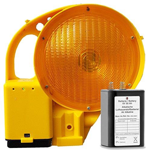 UvV LED Powerblitz - Warnblitzleuchte mit LED inkl. 1 x 6 Volt 50 ah Batterie (Klasse L8L Blitz entsprechend der EN12352)
