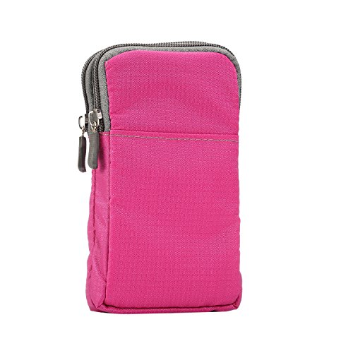Hieronder 6.9 inch Plaid Dubbele Rits Outdoor Casual Sport Opknoping Tas Tas/Crossbody Pocket Grote Scherm Telefoonhoes [iPhone Xs Max/XR/6S Plus,Galaxy Note 9/S10 Plus/J8,Hornor,Sony, LG]