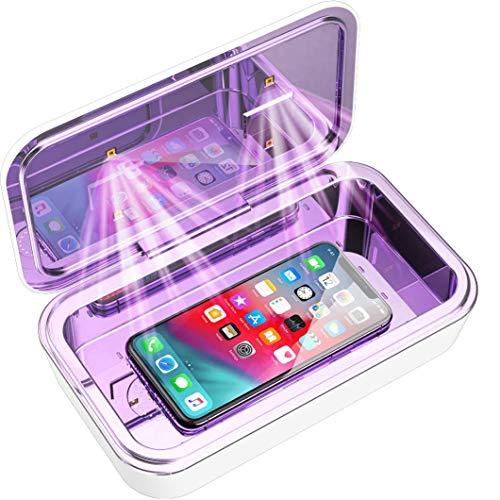 IFLOVE UV-C LED Sterilisatorbox für Mobiltelefone Große Kapazität Sie UV-Licht-Desinfektionsreiniger mit 4 LEDs für Smartphones iPhone Android Drahtloses Laden (Weiß)