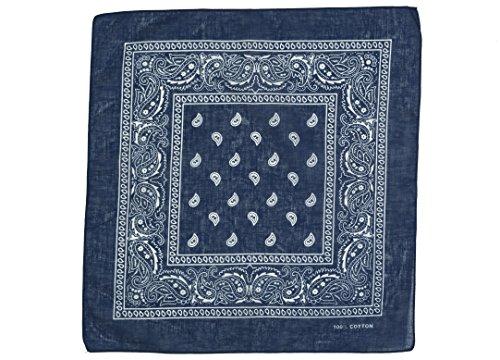 shenky - Bandana - Pañuelo para motorista - 100% algodón - Estampado de cachemira - Azul oscuro - Pack de 10 unidades