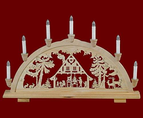 yanka-style Schwibbogen Lichterbogen Leuchter Haus im Wald traditionelles Motiv 7flammig Weihnachten Advent Geschenk Dekoration (83148-36)