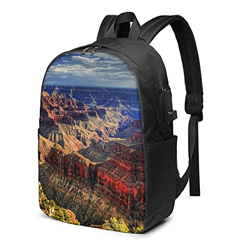 Zaino Grand Canyon, zaino da viaggio per computer portatile con porta di ricarica USB, per uomini e donne, 17 pollici - nero - taglia unica