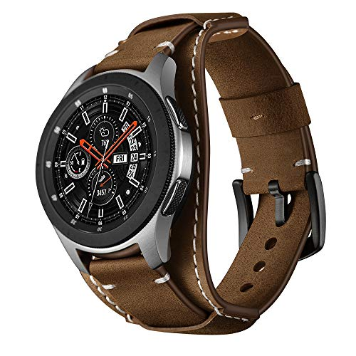 Balerion Cuff Genuine Leather Watch Band,Compatible with Samsung Galaxy Watch 46mm,Gear S3,Fossil Q Explorist/Q Marshal Gen 2 and Other Standard 22mm Band Width Watch,Coffee