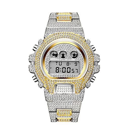 KLFJFD Reloj Electrónico Impermeable con Diamantes De Imitación con Movimiento Japonés para Hombre, Reloj De Regalo De Cumpleaños De Moda Informal A La Moda