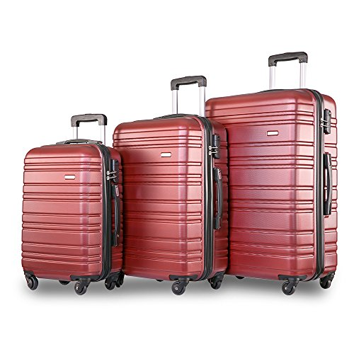 Merax 3 Piece Lugagge Lightweight Hard Shell 4 Wheels Travel Trolley Suitcase Holdall Cabin Case (Set of 3, Red)