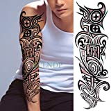 3 Piezas Etiqueta engomada del Tatuaje Totem Geometría Brazo Completo Tamaño Grande Manga Tatuaje Bordado Hombre Ms 3 piezas-20