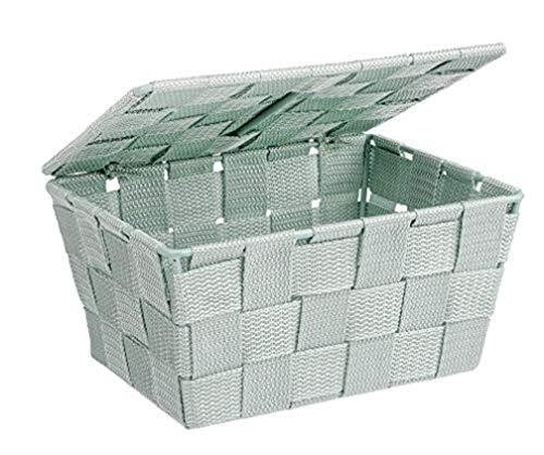 Wenko Adria, cestino da bagno con coperchio, Polipropilene, menta, 19 x 14 x 10 cm