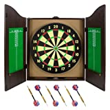 Classic Double-Sided Dartboard - Cork Board with Walnut Cabinet Set with 6 Brass Darts, Chalk, Eraser, & Mounting Hardware - for Bars & Game Rooms