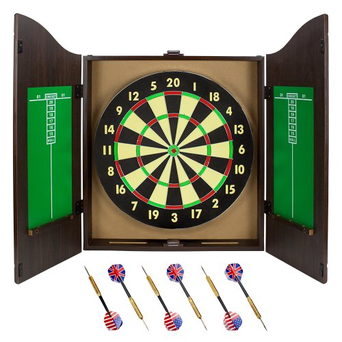 Classic Double-Sided Dartboard - Cork Board with Walnut Cabinet Set with 6 Brass Darts, Chalk, Eraser, Mounting Hardware - for Bars & Game Rooms