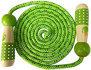 eBelken Jump Rope for Kids, Kids Jump Ropes, Boys and Girls Skipping Rope for Children Students Fitness Training/Exercise/Outdoor Activity Fun Toy - Adjustable and Wooden Handle (Green Frog)