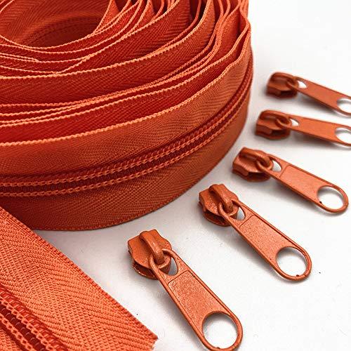 WKXFJJWZC 10 metri (10,8 yard) 5 # lunga cerniera in nylon con 20 pezzi cursore cerniera per accessori fai da te cucito abbigliamento (20 colori) (arancione)