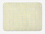 ABAKUHAUS Limón Tapete para Baño, Verano de los agrios, Decorativo de Felpa Estampada con Dorso Antideslizante, 45 cm x 75 cm, Mostaza Verde Lima