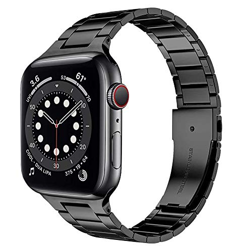 TaiWang Serie Compatible Apple Serie 6 Band Serie, [Ultra Delgada] Banda Ajustable de Acero Inoxidable para la Serie SE de Apple Watch SE 38mm 40 mm (Negro),Negro,1.6/1.7 Inches