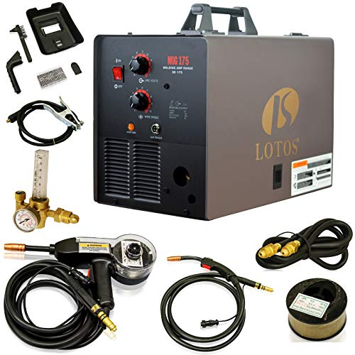 LOTOS MIG175 175AMP Mig Welder with Free Spool Gun, Mask, Aluminum Welding Wires, Solid Wires, Argon...