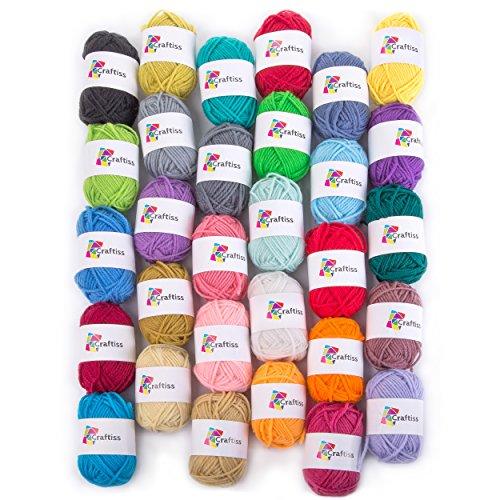CRAFTISS 30 Yarn Skeins - Bulk Yarn Crochet Kit 1300yds, 21 Ounces of 100% Acrylic Knitting Yarn for...
