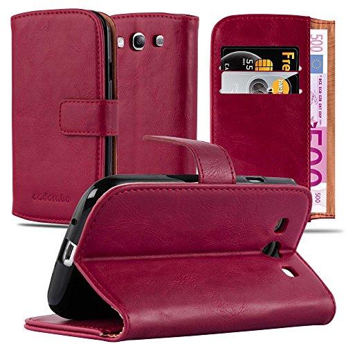Cadorabo Hülle für Samsung Galaxy S3 / S3 NEO in Wein ROT – Handyhülle mit Magnetverschluss, Standfunktion & Kartenfach – Hülle Cover Schutzhülle Etui Tasche Book Klapp Style