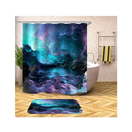 Daesar Badezimmerteppich Toilette 40x60 Wolkenmeer Bad Vorhang für Badezimmer 90x180 cm, Badematten Set