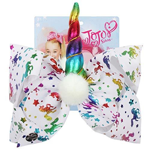 Special & Kind fabulosos lazos para el pelo de fiesta de unicornio grande de 8 cm para niñas Jojo Siwa Rainbow Jojo lazos con pompón de cuerno de cuero horquilla accesorios para el pelo para niños