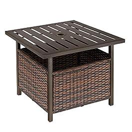 Outsunny Table Basse Pied de Parasol 2 en 1 résine tressée Imitation rotin métal époxy Chocolat