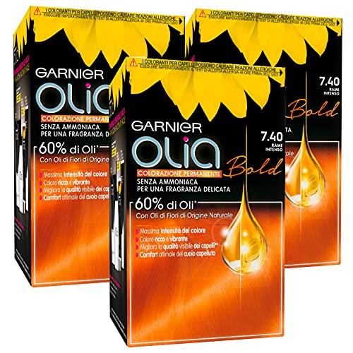 3x Garnier Olia Bold Colorazione Capelli Tinta Permanente Colore 7.40 Biondo Rame Intenso Senza Ammoniaca Fragranza Delicata - 3 Tinte