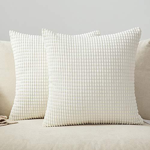 MIULEE 2er Set Kordsamt Soft Solid Dekorative Quadrat Wurf Kissenbezüge Set Kissen Fall für Sofa Schlafzimmer Auto 18 x 18 inch 45 x 45 cm