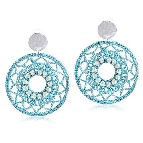 ZIXIYAWEI Ohrringe Für Damen Blaue Runde Häkelohrringe Für Frauen Aushöhlende Häkeltropfen Retro Dangle Ohrring Geschenk Für Weihnachtsschmuck