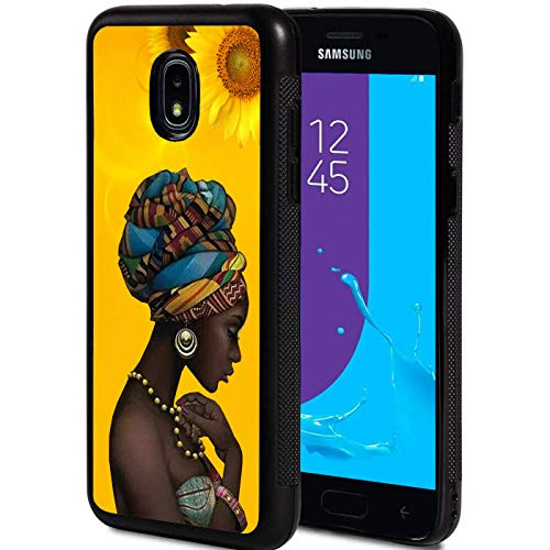 XMTMR-Glass Galaxy J7 2018 Case, Ultra-Thin Anti-Scratch Shock-Proof Soft Silicone TPU Protective Cover for Samsung Galaxy J7 (2018), Sunflower and Pretty Girl